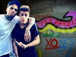 'Free Breezy': Justin Bieber shows his support for troubled pal Chris Brown with graffiti tag in Colombia