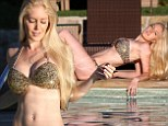 Desperate for attention? Heidi Montag shows off her sexy figure in a glittery gold bikini for photo shoot