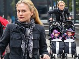 Anna Paquin takes a her twins Poppy and Charlie out for a stroll through the East Village