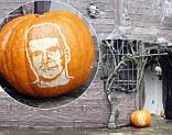 Simon Cowell immortalised on a pumpkin outside Jonathan Ross' home ahead of Halloween party
