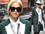 Fashion as a form of art: Rita Ora displayed her avant-garde style as she arrived at The Mercer Hotel in New York's Soho neighbourhood on Wednesday