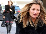 Forever young: Kate Moss out on a windy day in North London looked youthful and relaxed going make up free