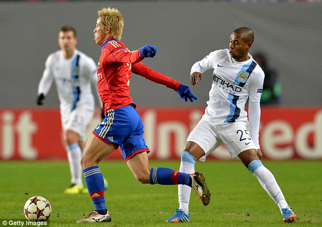 Him too? Fernandinho (right) may also have been the subject of racist abuse during the game