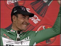 Erik Zabel in the Tour de France's green points leader's jersey in 1997
