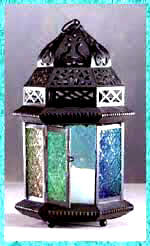 Candle Lanterns color stained glass.Candleholder Lanterns for colorful home garden patio lighting