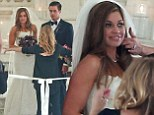 Boy Meets World's Danielle Fishel wows in strapless lace gown as she marries Tim Belusko in candlelit cathedral
