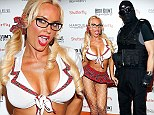 Naughty little school girl! Coco Austin wears a VERY revealing skirt and crop top as she and husband Ice-T attend Heidi Klum's Halloween bash