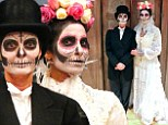 They make a spooktacular couple! Susan Sarandon and Padma Lakshmi dress as a Day of the Dead bride and groom