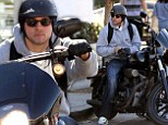 Juice brake! Even when he isn't on the set, Sons of Anarchy star Charlie Hunnam prefers riding on the back of a Harley-Davidson