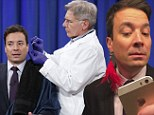 'You want me to go for the other side?': Harrison Ford enters the body modification industry as he pierces Jimmy Fallons' ears on late night talkshow