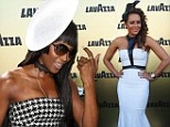 Did you coordinate? Naomi Campbell and Mel B attend Melbourne Cup in strapless monochromes dresses and headpieces