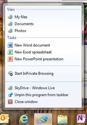 Get to SkyDrive from your Windows Taskbar