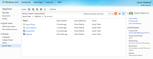 Access your group mailing list with one click in SkyDrive