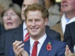 Try! Prince Harry cannot help but grin as he watches England beat Australia in the first Autumn International