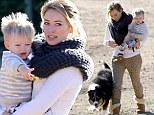 Hilary Duff and Luca in matching Ugg boots