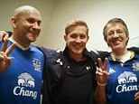 Friendly rivalry: Lewis Holtby (middle) posted this image of his dad wearing an Everton shirt on Facebook ahead of Tottenham's game at Goodison Park