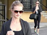 Rosie Huntington-Whiteley leaves a local gym in Studio City on Friday