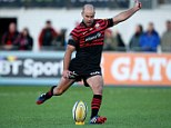 Pinpoint accuracy: Charlie Hodgson converts his try for Saracens