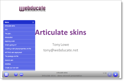 Example Articulate presentation with a custom skin