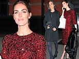 Model Hilary Rhoda dazzles in ruby red dress while Jennifer Connelly bundles up in chic black coat for Art Walk New York