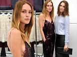 Erin Wasson is a sultry siren in side-plunging jumpsuit while Mandy Moore covers up in blue sweater at fashion event