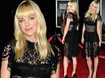 Racy in lace! Anna Faris outshines stars of husband's film wearing sheer black dress to Delivery Man premiere