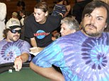 Jack Black in tie dye T-shirt at charity event