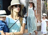 Hat's the way to do it! Alessandra Ambrosio and children Noah and Anja wear stylish matching headgear