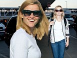 Flying visit! Reese Witherspoon jets back to work in Oregon after enjoying a lazy day with the men in her life in Los Angeles