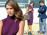 Jessica Alba's co-star Ben McKenzie sneaks a peek as actress adjusts her tight dress on set of How to Make Love Like an Englishman