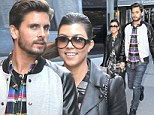 Check us out! Kourtney Kardashian and Scott Disick wear matching plaid shirts and leather jackets for a Big Apple lunch date