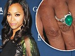 We're green with envy!: Zoe Saldana shows off her mega-carat emerald engagement ring from husband Marco Perego