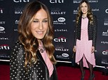 Shines like a diamond! Sarah Jessica Parker is tickled pink on the red carpet in a ruched cocktail dress with a stunner necklace