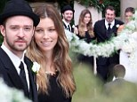 Reunited! Justin Timberlake joins his NSync bandmates to celebrate Chris Kirkpatrick's wedding and brings wife Jessica Biel along