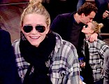 Olivier Sarkozy and Mary-Kate Olsen attend the Minnesota Timberwolves vs New York Knicks game at Madison Square Garden
