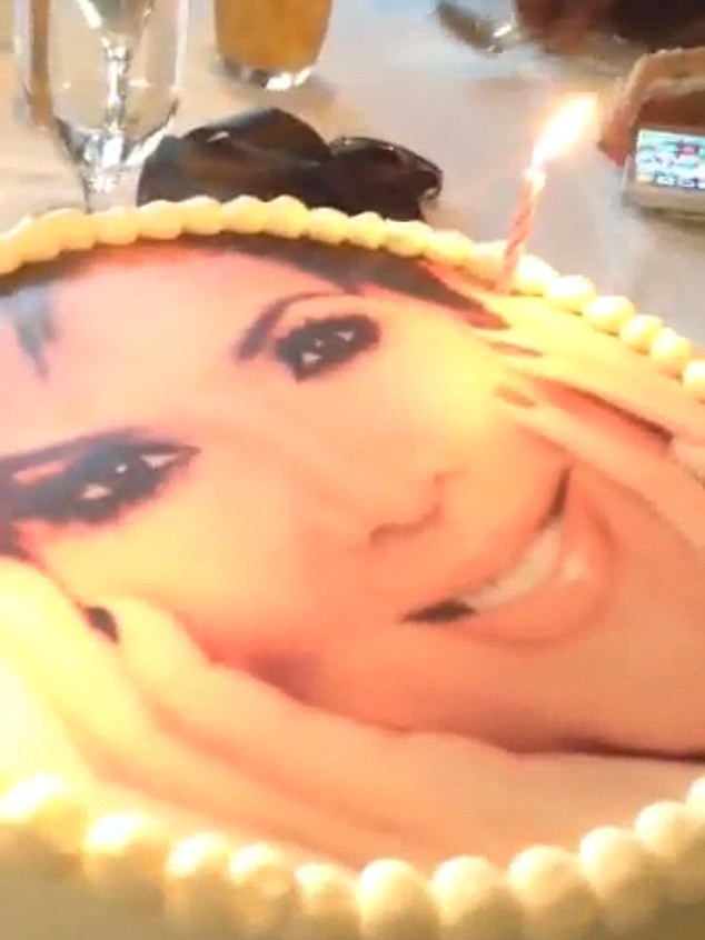 Happy Birthday! Kris Jenner was presented with a cake that had her face on it as she celebrated turning 58 with her family in Los Angeles on Tuesday