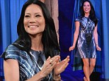 In her Element: Lucy Liu looks stunning in a striking patterned dress and sexy stilettos during an appearance on Jimmy Fallon