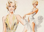 'Marilyn Monroe - wind scene at subway': Sketches of late star's iconic costumes - before they were made - go up for auction
