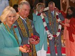 Charles and Camilla take part in Aarti ceremony in Rishikesh as they embark on nine day tour of India