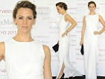 Lady in white: Jennifer Garner is the epitome of elegance as she displays her trim frame in a heavenly gown at a photo call in Japan