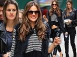 Seeing double! Alessandra Ambrosio flaunts her taut tummy in leather trousers and a tiny sweater as she steps out with lookalike sister Aline