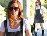 Pretty in polka dots: Rumer Willis wore a printed black-and-white frock as she left a salon in Los Angeles, California on Tuesday