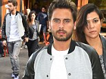 Well matched! Kourtney Kardashian and Scott Disick coordinate in grey and black ensembles for Manhattan lunch date