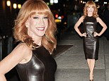 Leather look: Kathy Griffin wore a tight leather dress on Tuesday as she left the Late Show With David Letterman studio in New York City