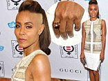 Fuelling the fire: Jada Pinkett Smith didn't wear her wedding ring as she attended the Make Equality Reality event in Beverly Hills on Monday evening