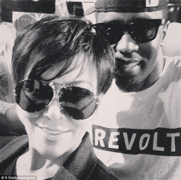 Friends in high places: Diddy wrote on his message 'HAPPY BIRTHDAY @KrisJenner!!! You are beautiful, hardworking and a great friend!'