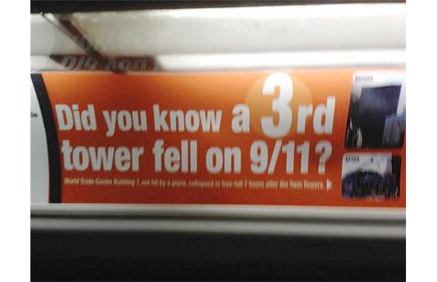OC Transpo buses are displaying about 300 ads, such as the one above, with the words ' Did you know a 3rd tower fell on 9/11?'