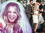 Blushing bride: Kaley Cuoco laughed after receiving a wedding veil from talk show host Ellen DeGeneres during a chat show segment scheduled for broadcast on Thursday