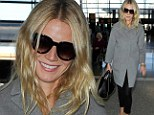 Up, up and away... AGAIN! Gwyneth Paltrow looks ready for a nap as she boards yet another flight to London