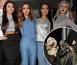 Nice to see you: Little Mix beam as they leave Celebrity Juice, but covered their faces upon arrival